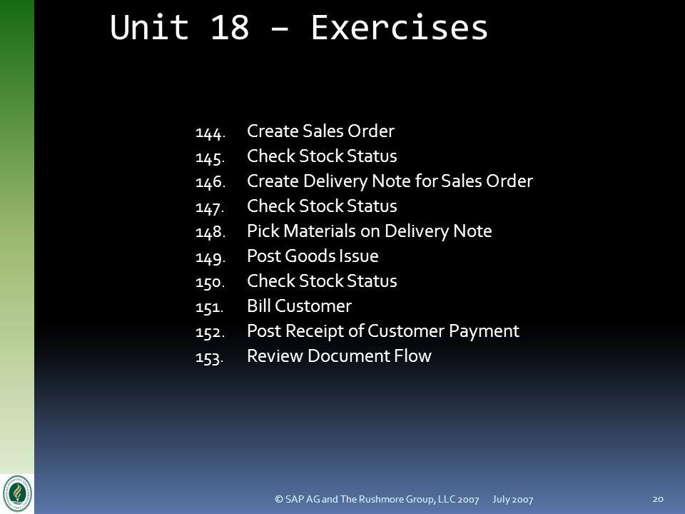 Unit 18 – Exercises Create Sales Order Check Stock Status