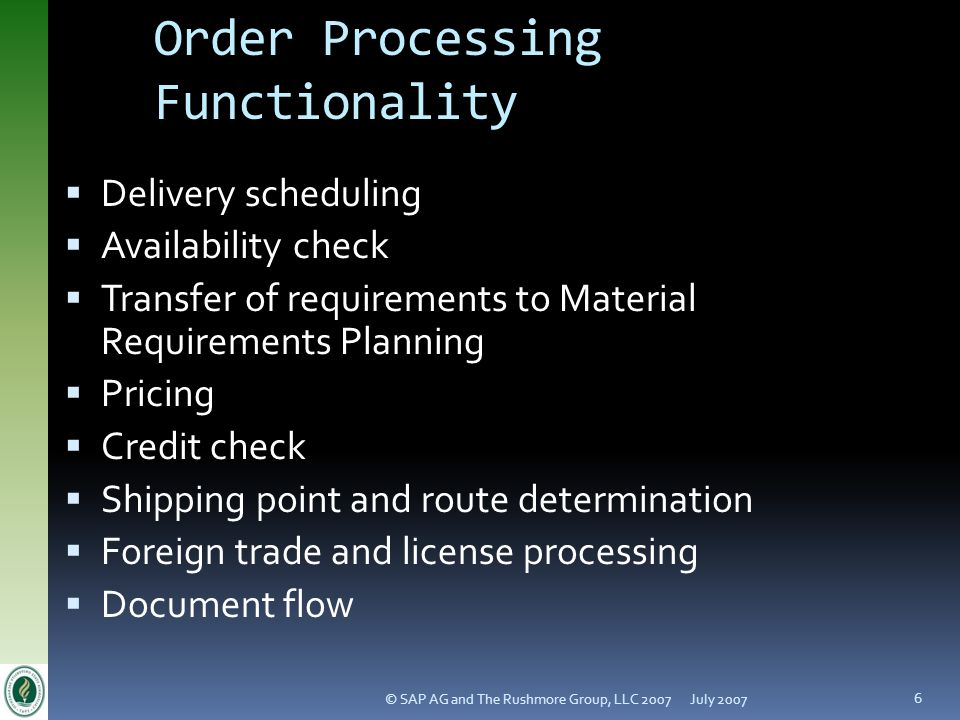 Order Processing Functionality