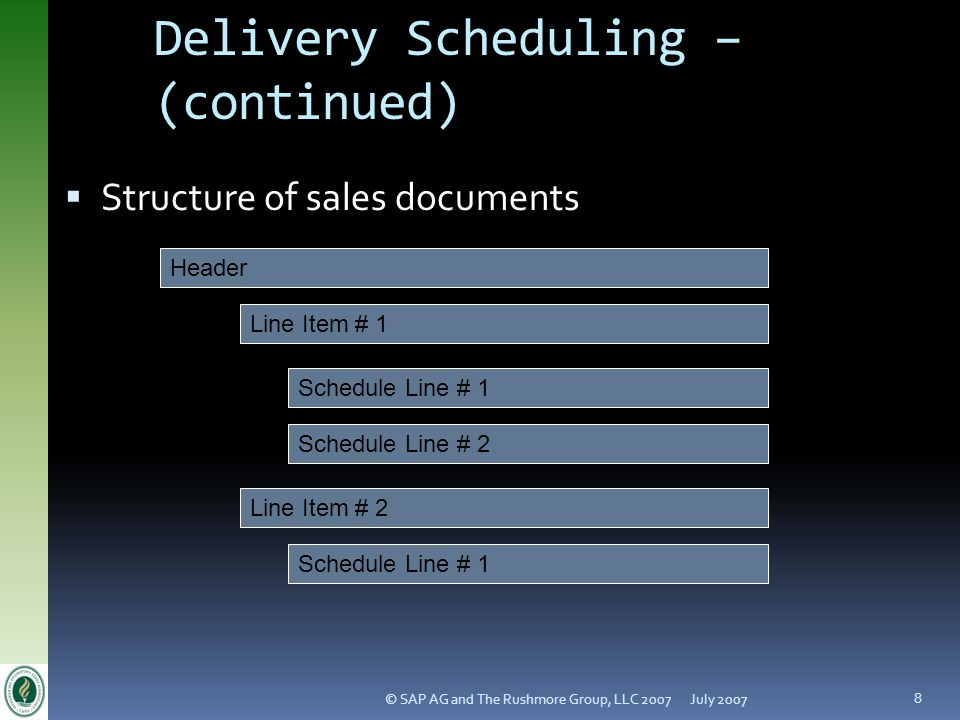 Delivery Scheduling – (continued)