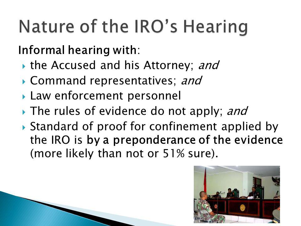Nature of the IRO's Hearing