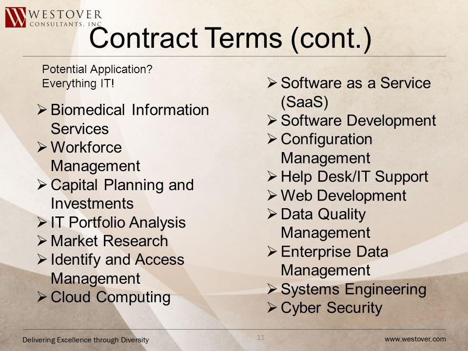 Contract Terms (cont.) Software as a Service (SaaS)
