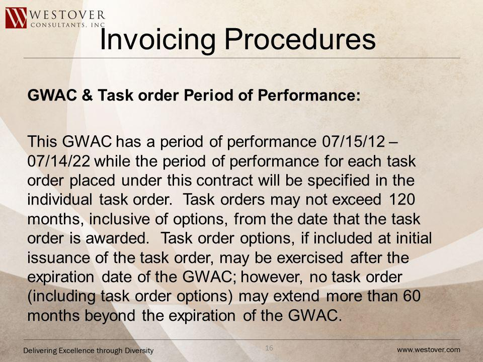 Invoicing Procedures GWAC & Task order Period of Performance:
