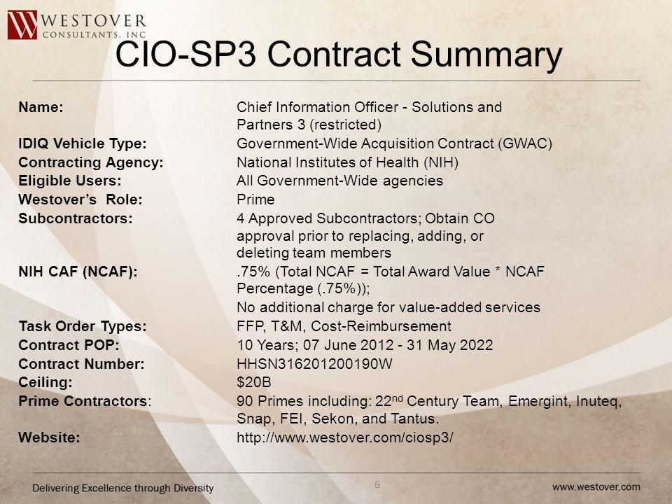 CIO-SP3 Contract Summary