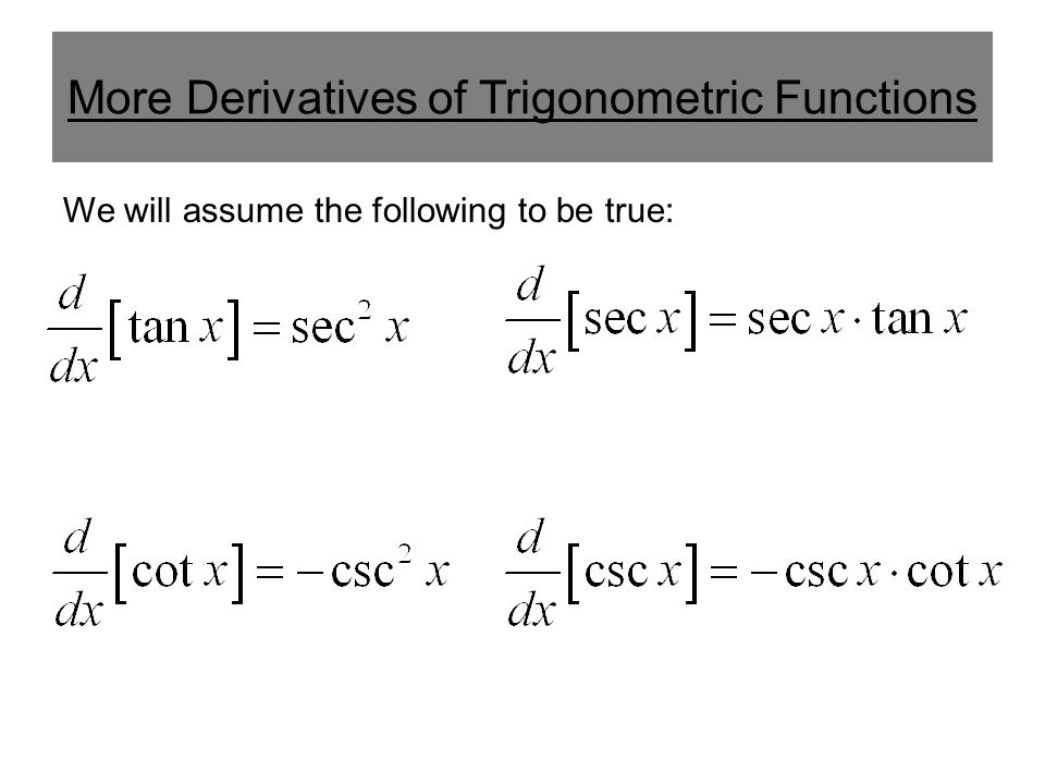 More Derivatives of Trigonometric Functions