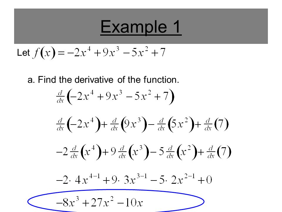 Example 1 Let a. Find the derivative of the function.