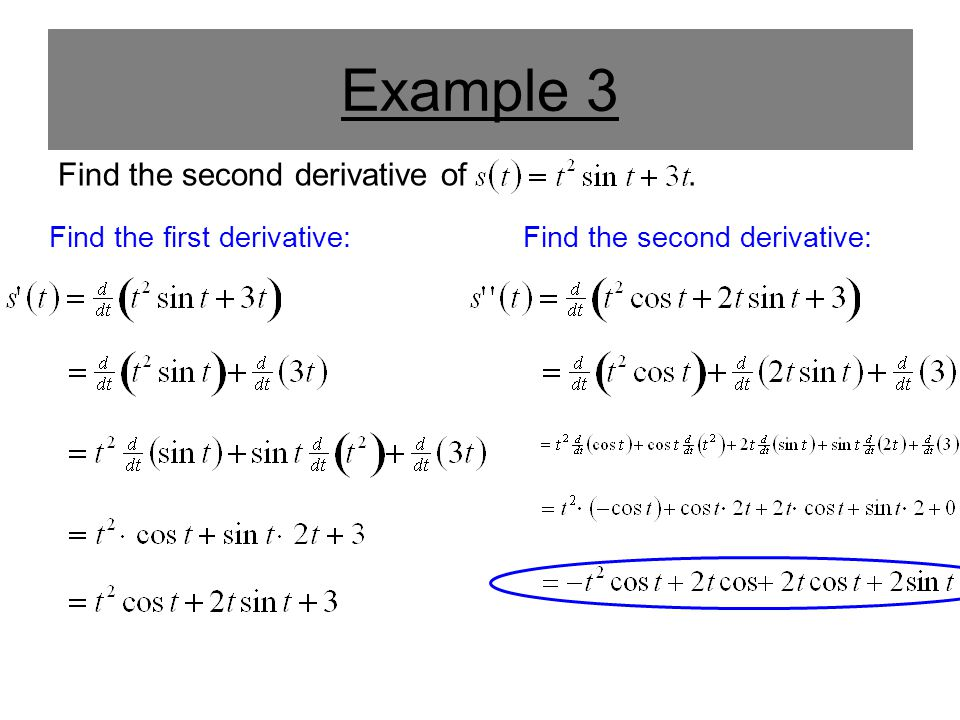 Example 3 Find the second derivative of . Find the first derivative: