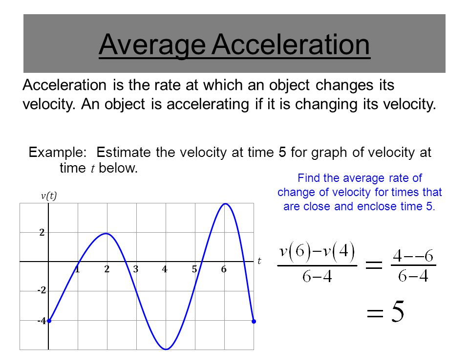 Average Acceleration Acceleration is the rate at which an object changes its velocity. An object is accelerating if it is changing its velocity.