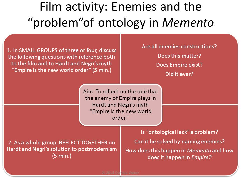 Film activity: Enemies and the problem of ontology in Memento