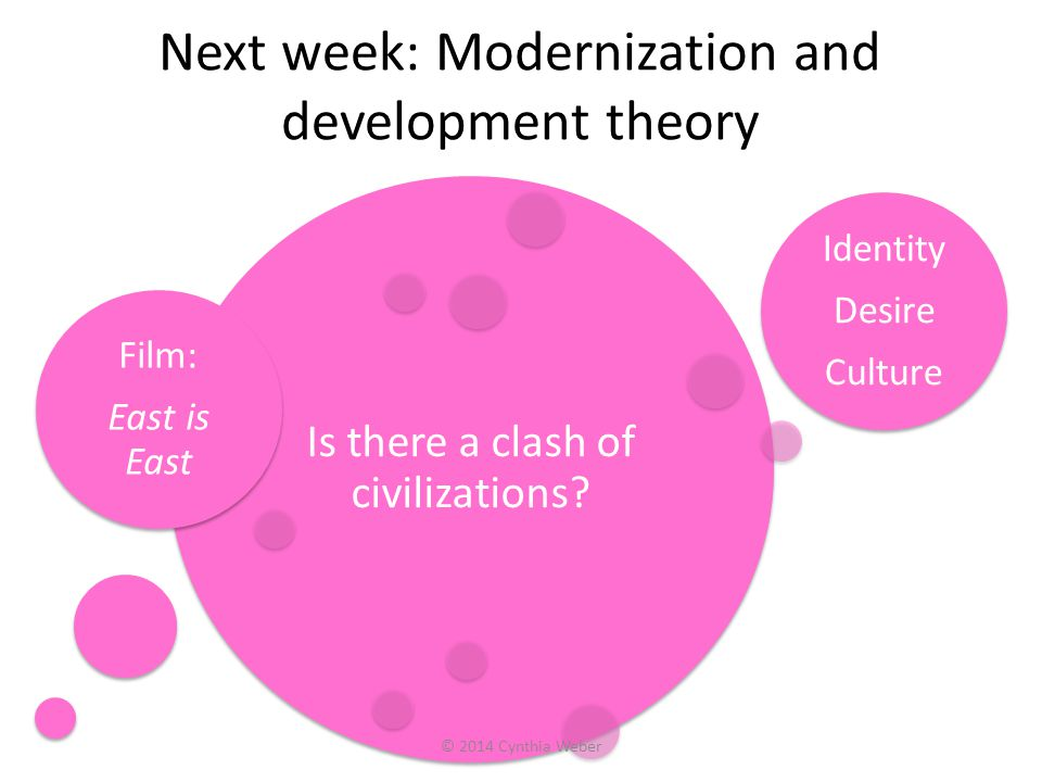 Next week: Modernization and development theory