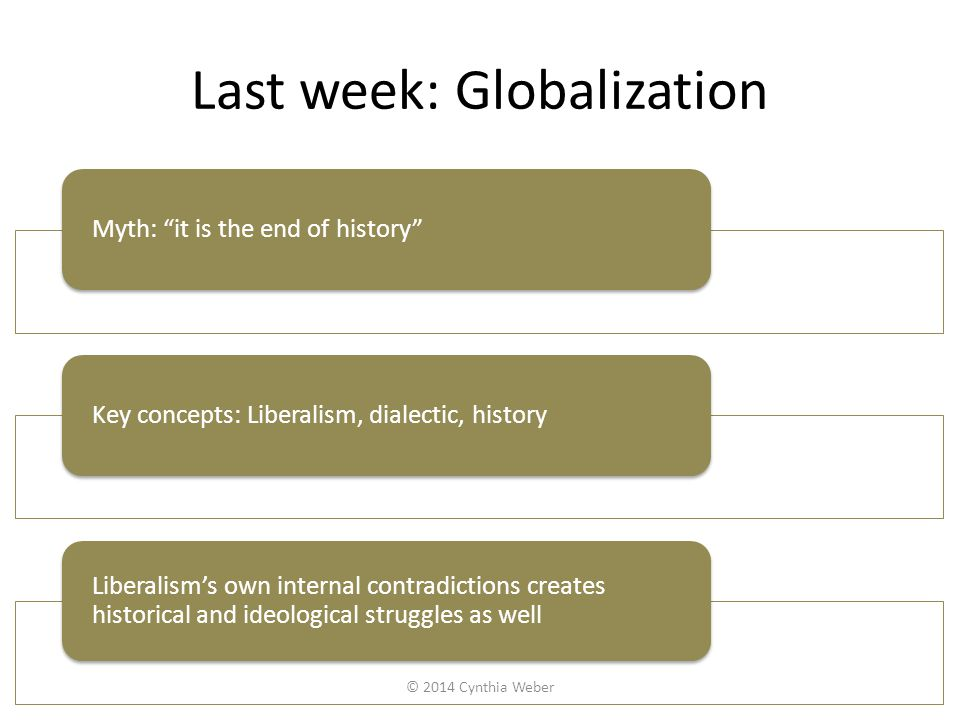 Last week: Globalization