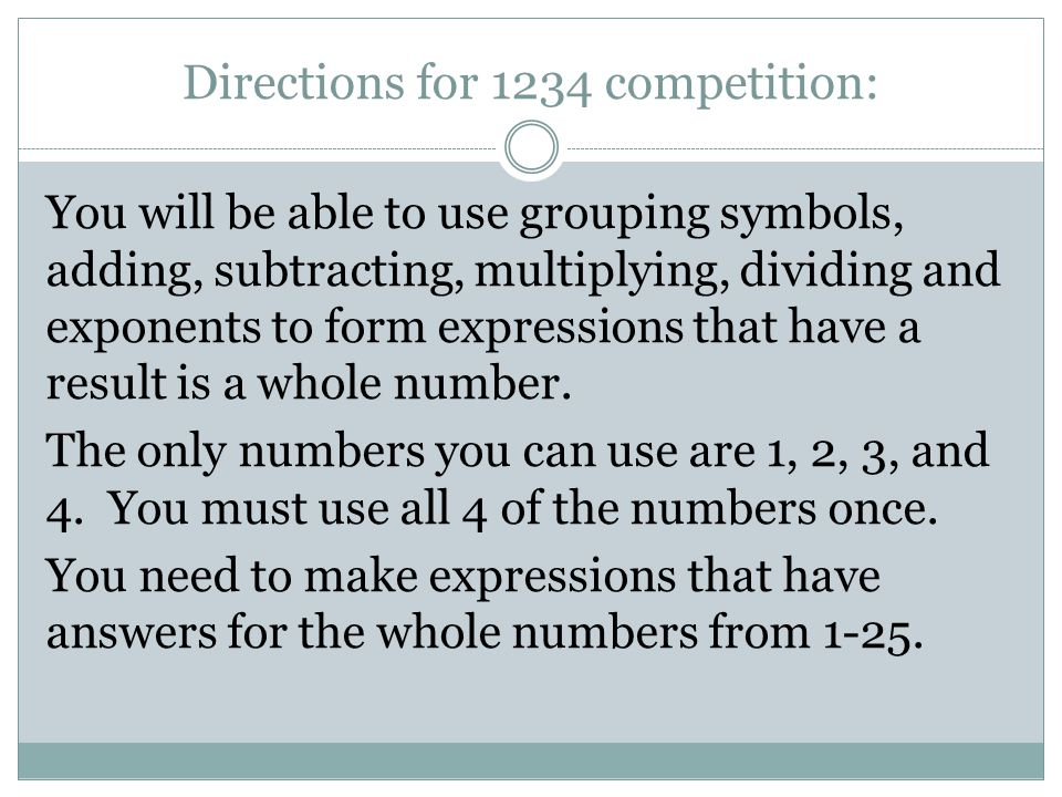 Directions for 1234 competition: