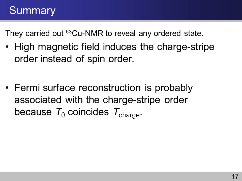 Summary They carried out 63Cu-NMR to reveal any ordered state. High magnetic field induces the charge-stripe order instead of spin order.