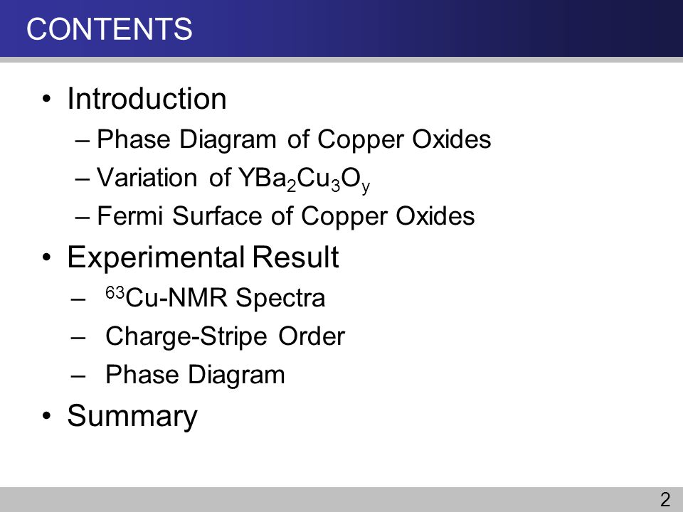 CONTENTS Introduction Experimental Result Summary