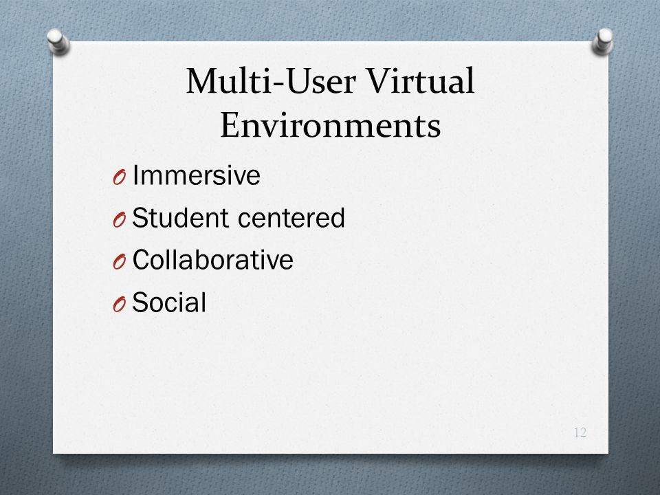Multi-User Virtual Environments