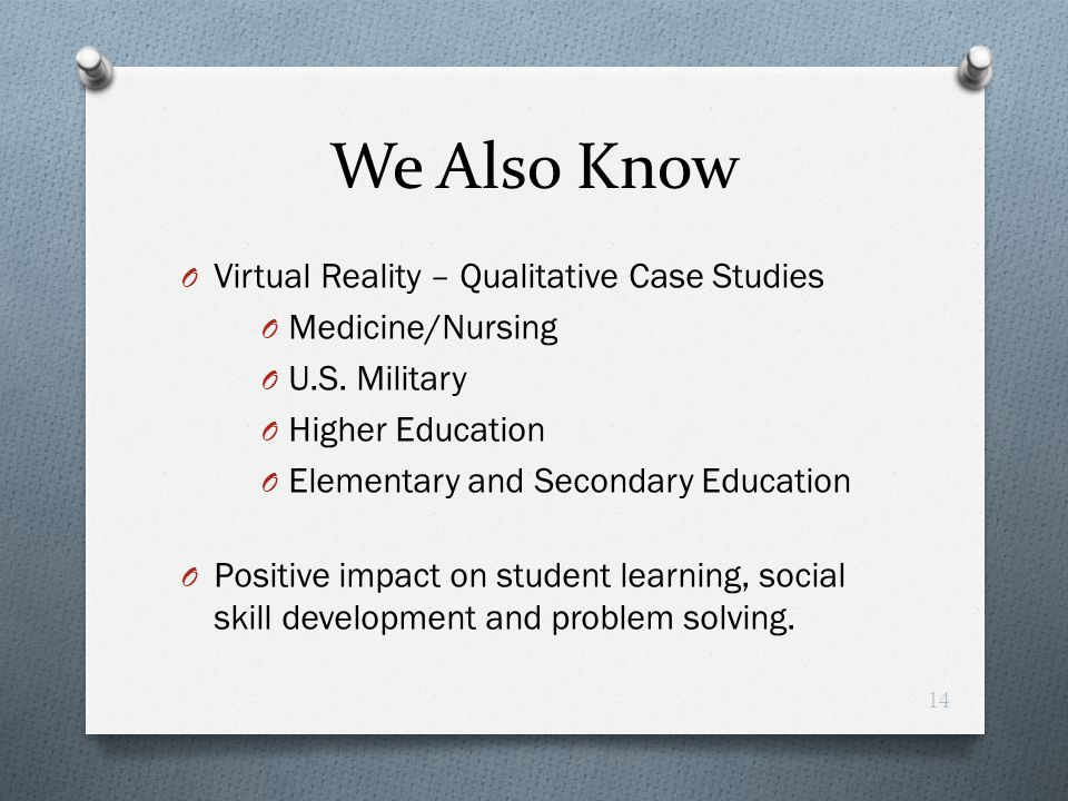 We Also Know Virtual Reality – Qualitative Case Studies