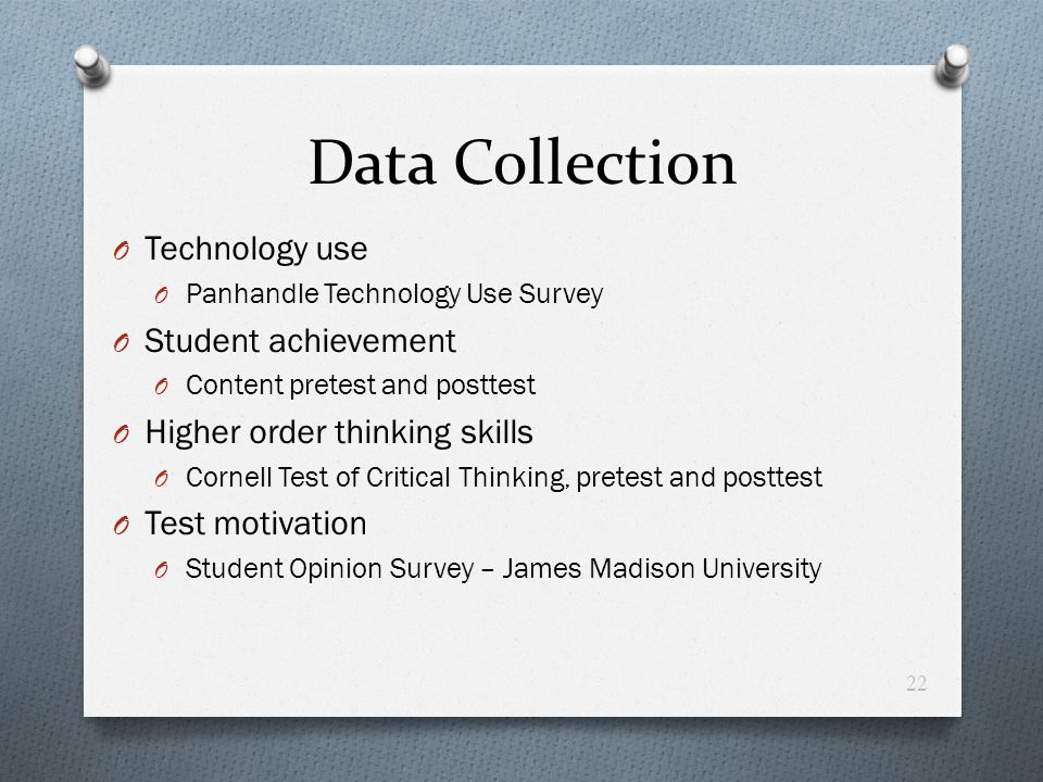 Data Collection Technology use Student achievement
