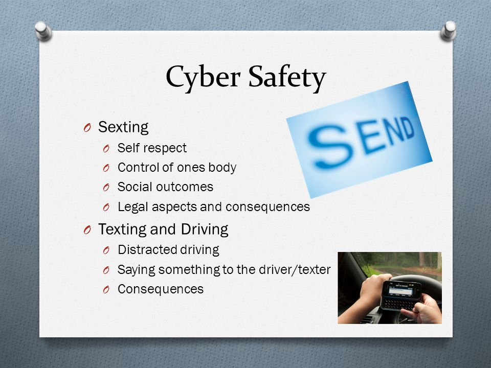 Cyber Safety Sexting Texting and Driving Self respect