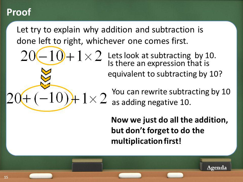 Proof Let try to explain why addition and subtraction is done left to right, whichever one comes first.
