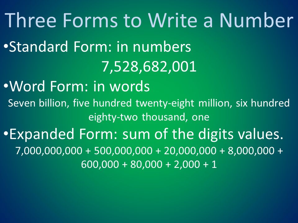 Three Forms to Write a Number