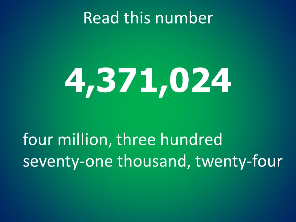 4,371,024 Read this number four million, three hundred