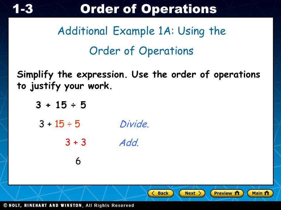 Additional Example 1A: Using the