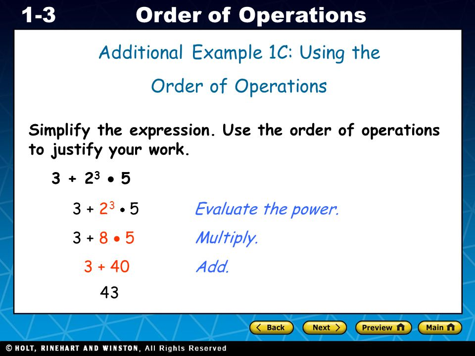Additional Example 1C: Using the