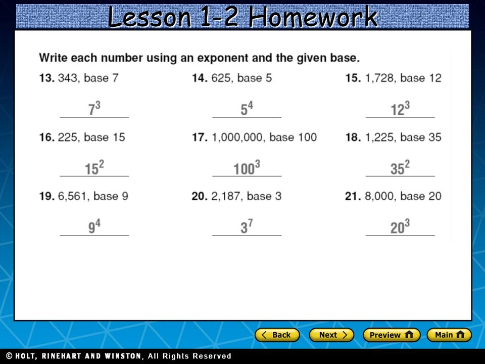 Lesson 1-2 Homework