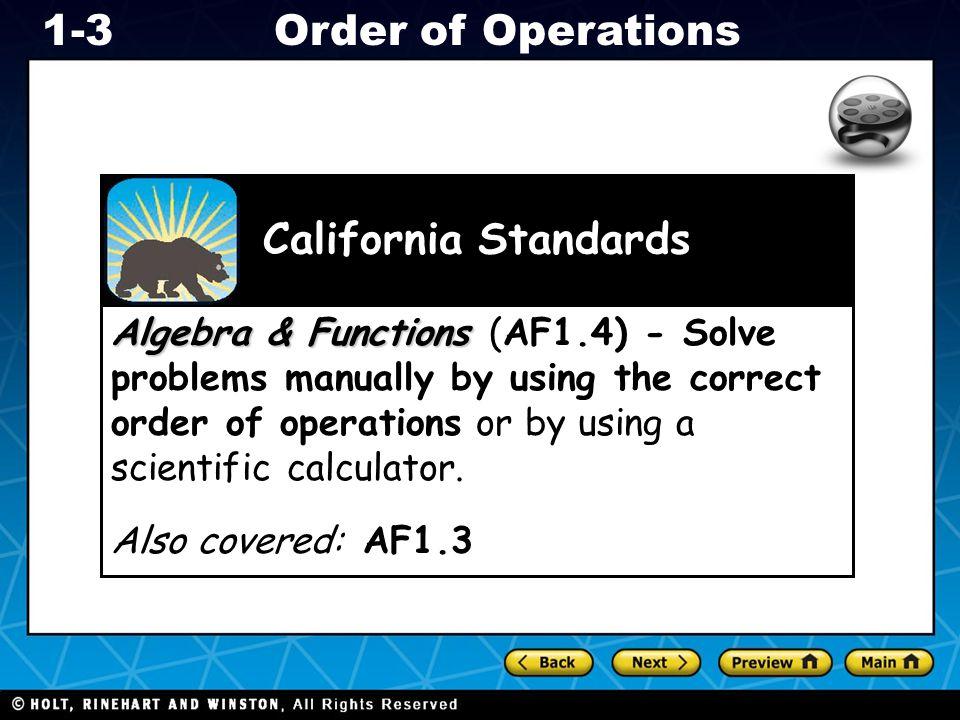 Algebra & Functions (AF1
