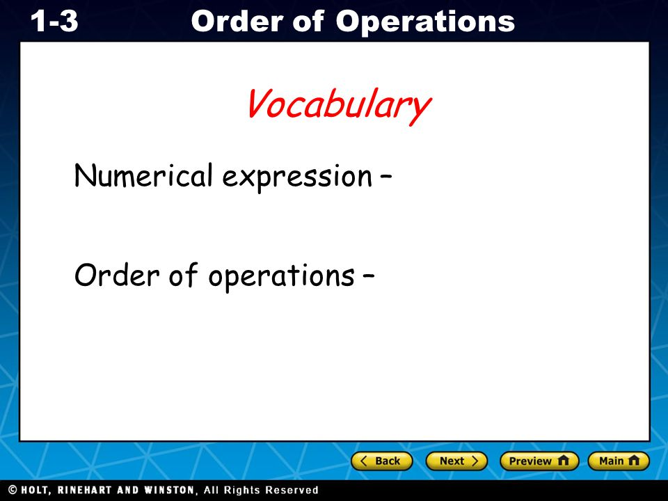 Vocabulary Numerical expression – Order of operations –