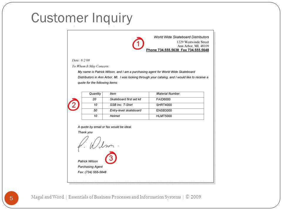 Customer Inquiry Magal and Word | Essentials of Business Processes and Information Systems | © 2009