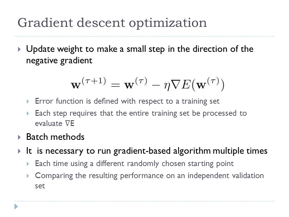 Gradient descent optimization