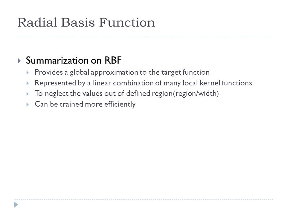 Radial Basis Function Summarization on RBF