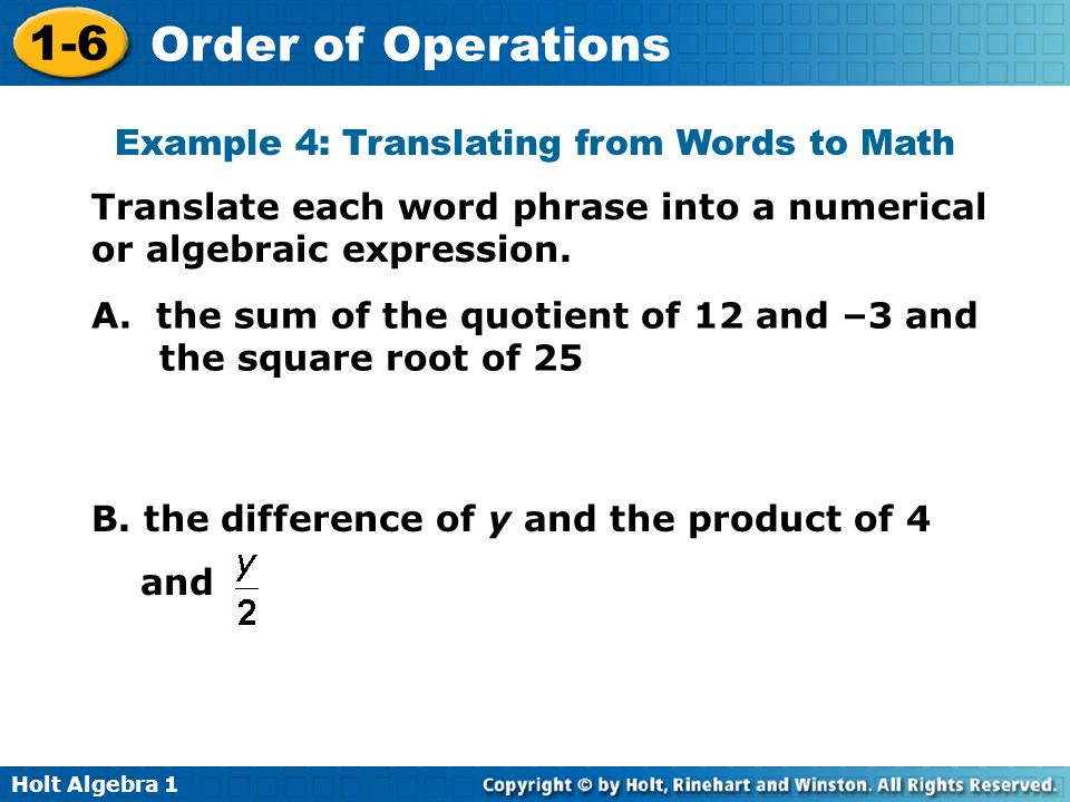 Example 4: Translating from Words to Math