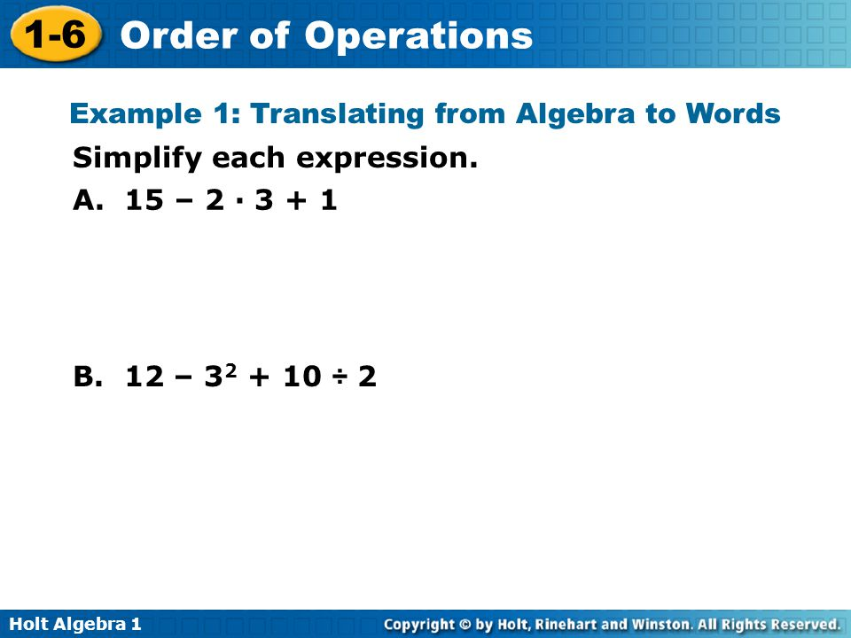 Example 1: Translating from Algebra to Words