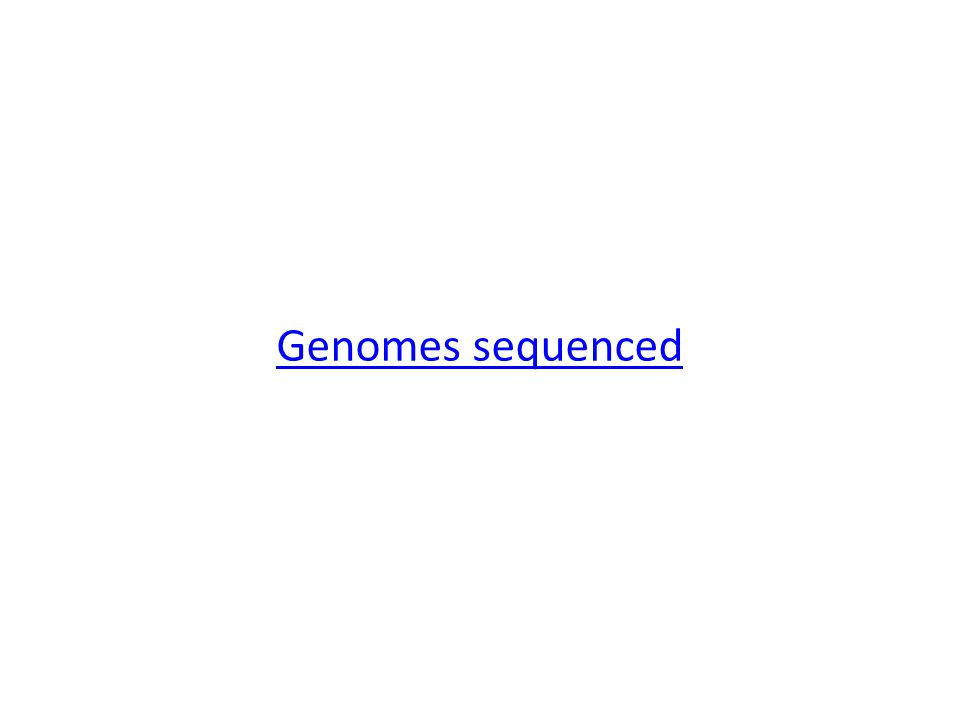 Genomes sequenced