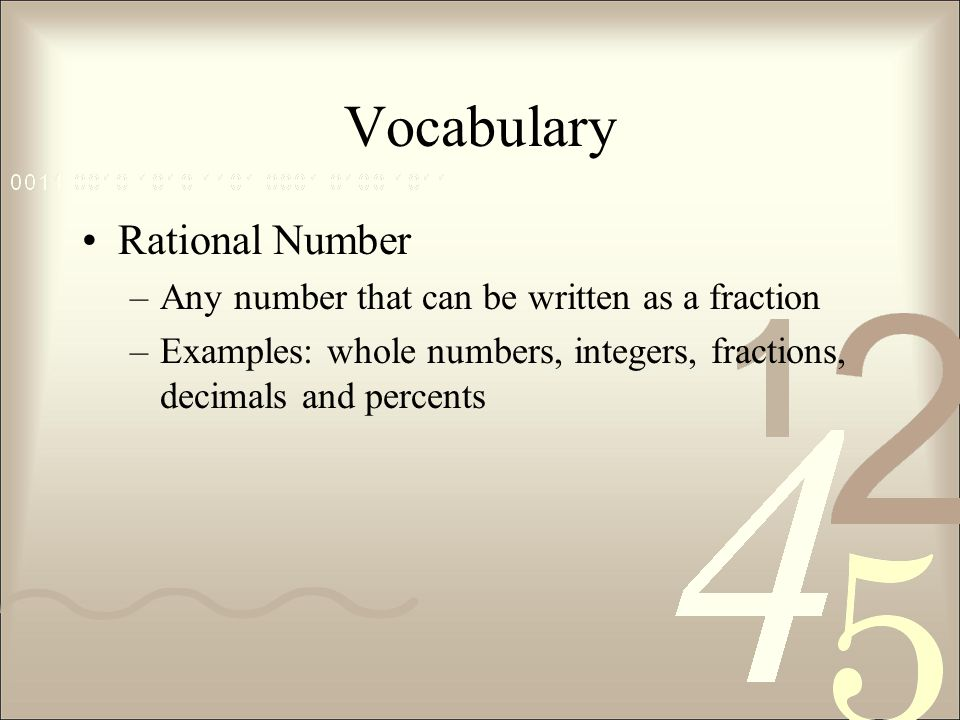 Vocabulary Rational Number