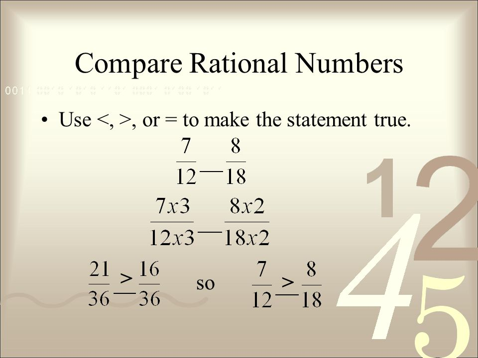 Compare Rational Numbers