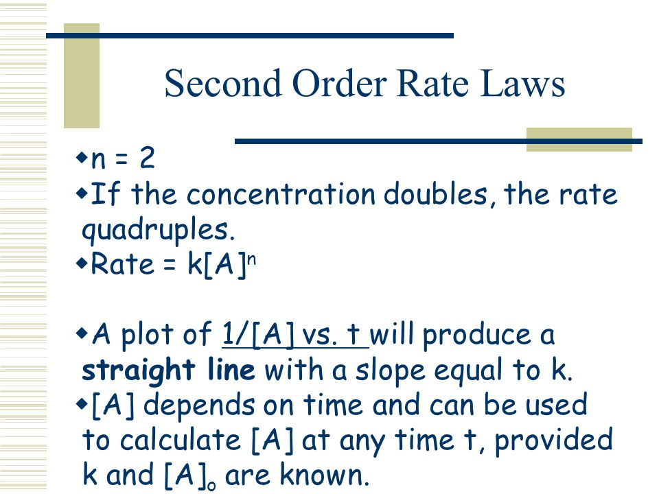 Second Order Rate Laws n = 2