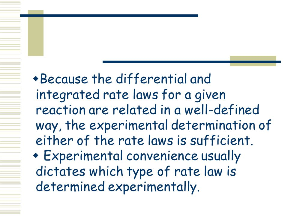 determination of a rate law Determine rate law by method of initial rates  comment: the above manner of making the rate order determination for b a bit more complex is a common technique.