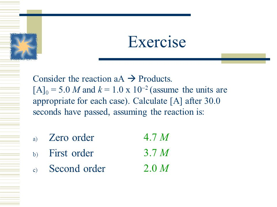 Exercise Zero order First order Second order 4.7 M 3.7 M 2.0 M