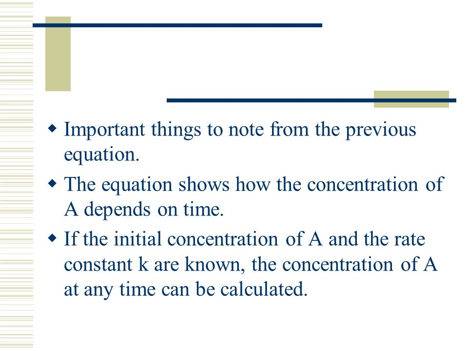 Important things to note from the previous equation.