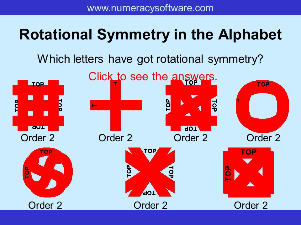 Rotational Symmetry in the Alphabet