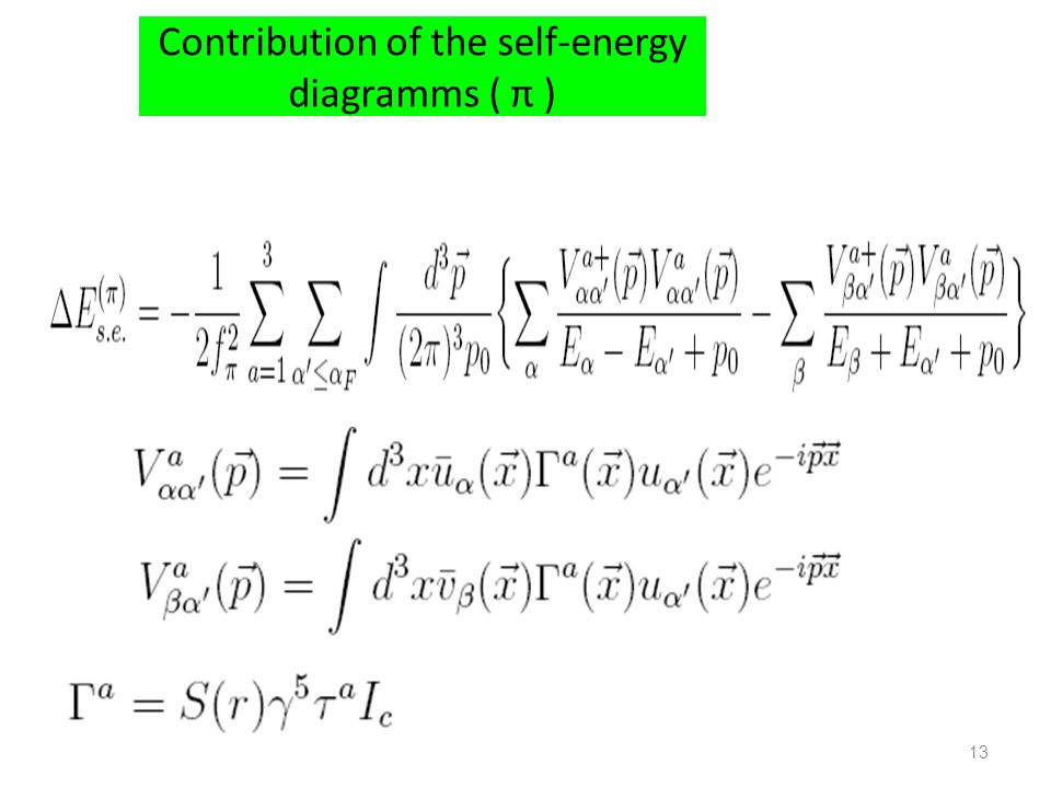 Contribution of the self-energy diagramms ( π )