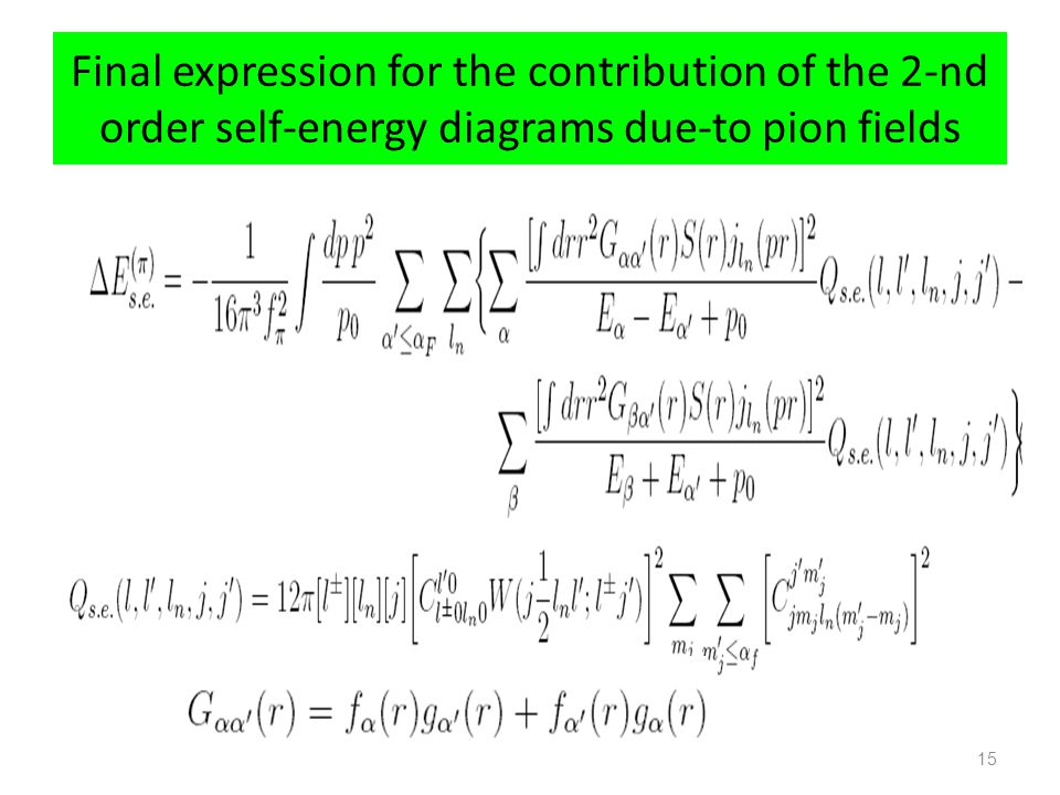 Final expression for the contribution of the 2-nd order self-energy diagrams due-to pion fields