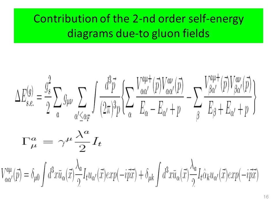 Contribution of the 2-nd order self-energy diagrams due-to gluon fields
