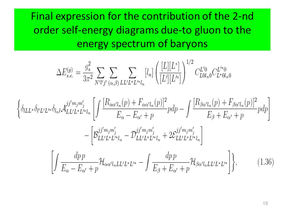 Final expression for the contribution of the 2-nd order self-energy diagrams due-to gluon to the energy spectrum of baryons