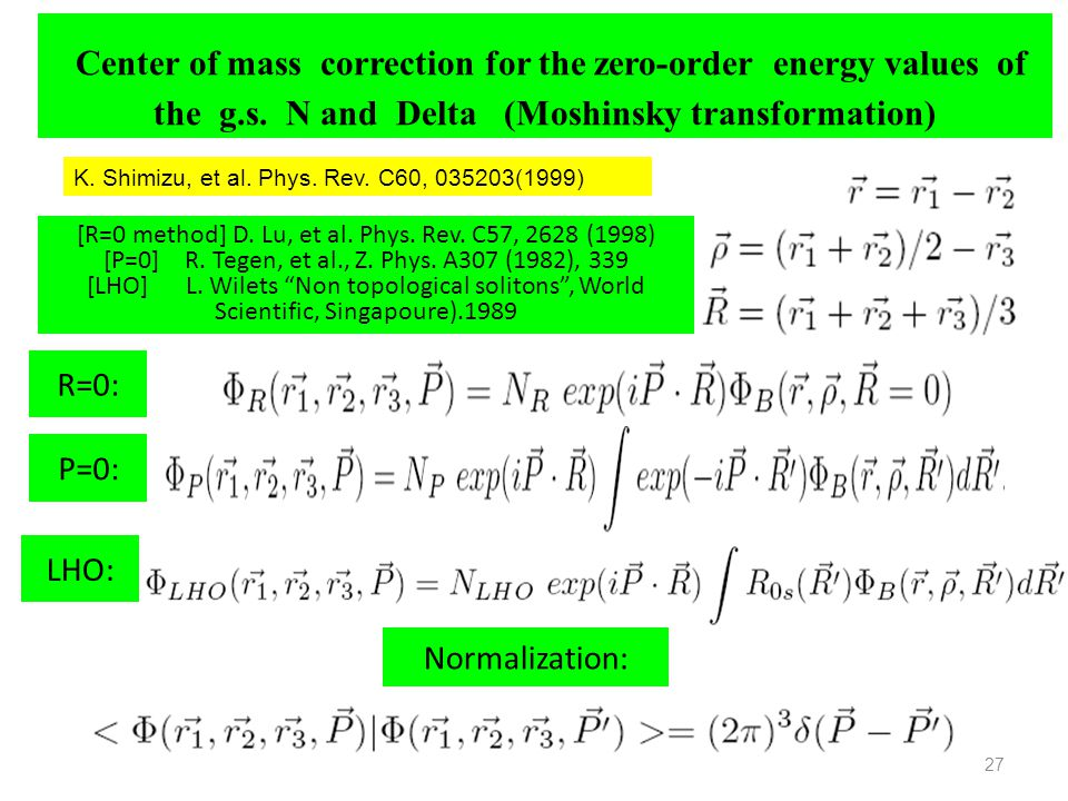 Center of mass correction for the zero-order energy values of the g. s