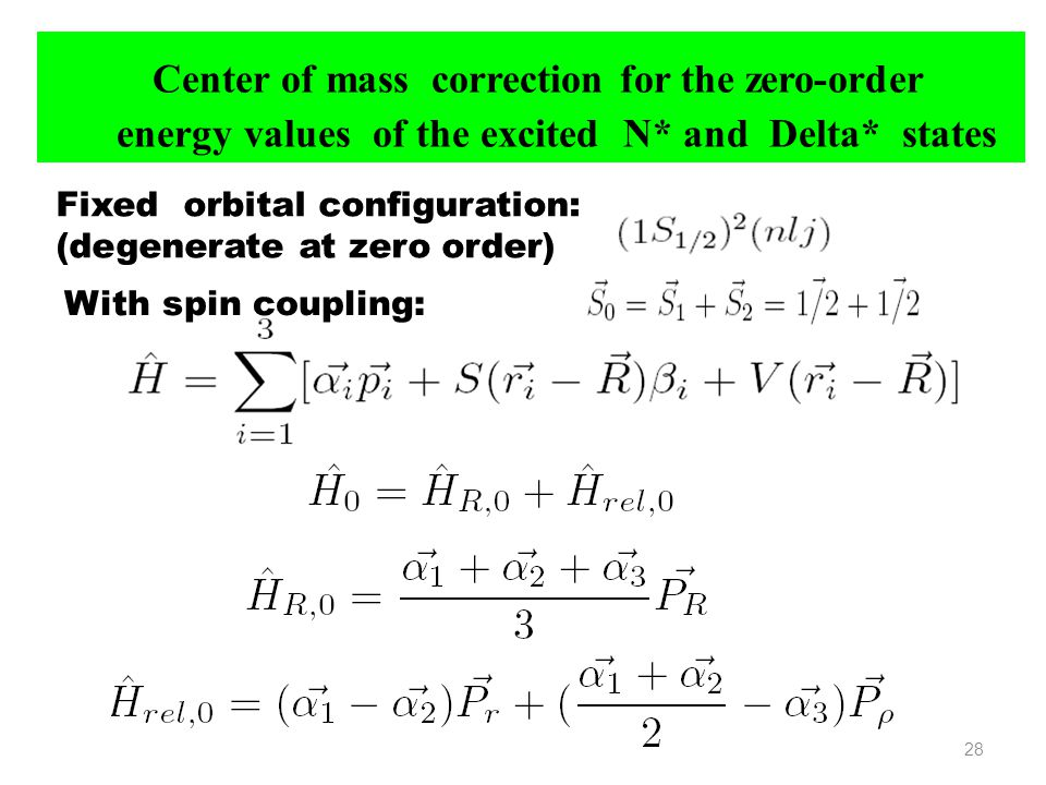 Center of mass correction for the zero-order energy values of the excited N* and Delta* states