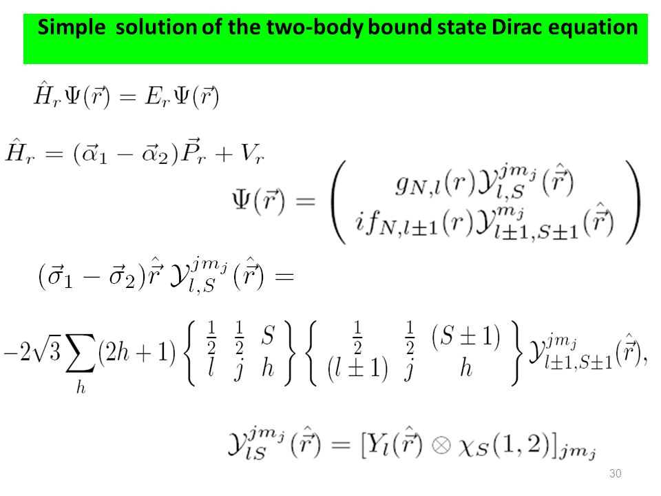 Simple solution of the two-body bound state Dirac equation