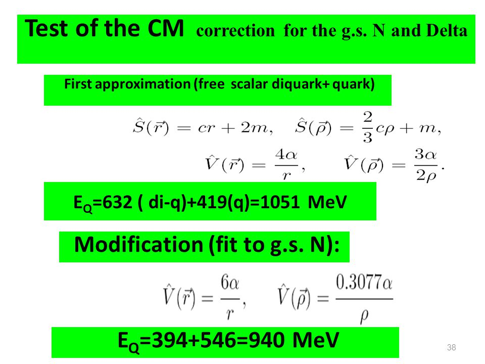 Test of the CM correction for the g.s. N and Delta